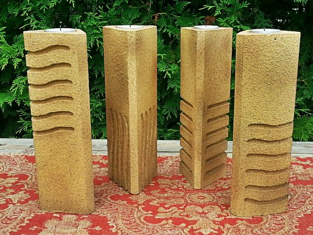 Fifth Element Stones Pillar Candle Holders
